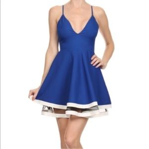 Dresses & Skirts - Blue & White Fit and Flare Dress